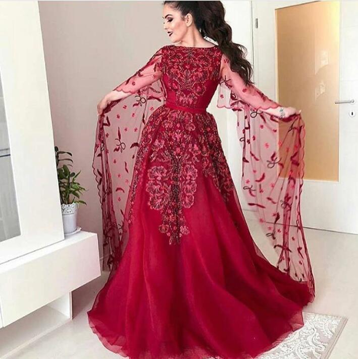 Evening dress Ziad naked Yousef aljasmi Red Lace Floor length With cape Long sleeve Embroidery dress kim kardashian zaj