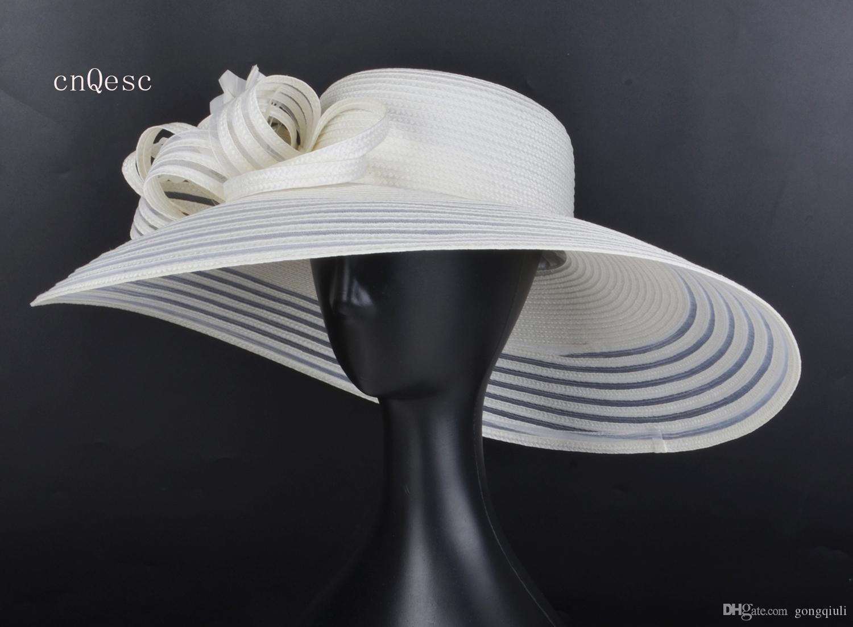 2019 X Cappello grande da sole in paglia di paglia avorio per la festa della mamma Corsa kentucky derby w / piume