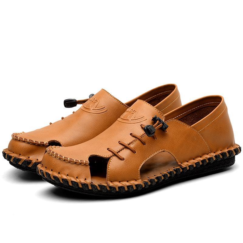 Sandale Homme Cuir Sandales Homme Calçado De Couro Genuíno Calçado De Sola Macio Sandálias Casuais Sandálias Gladiator Sandálias Para Homens