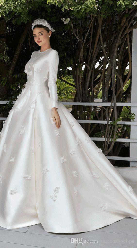 Miranda Kerr Wedding Dress.Discount Miranda Kerr Wedding Dresses With Long Sleeve 2019 Modest Jewel Muslim Middle East 3d Floral Stain Princess Church Bridal Wedding Gowns