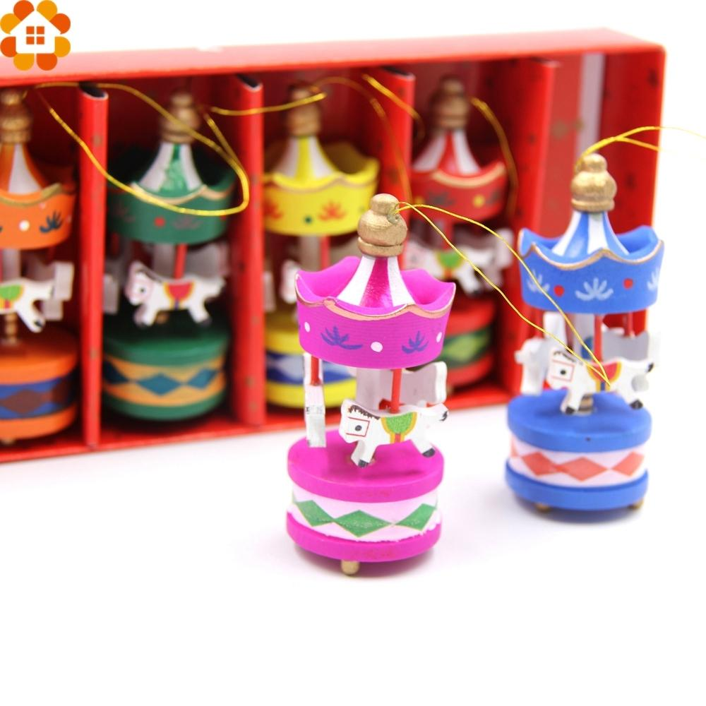 6PCS Merry-go-round Wood Craft Christmas Ornaments Cute Carrousel Creative Desktop Decoration DIY Gift For Home Decor Kids Toys