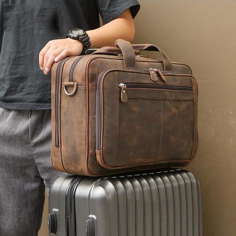 Luufan alta calidad Maletín de piel sobre el Rolling Travel Case visita de la cartera Bolsa para portátil de 15,6 pulgadas 17 hombres del cuero real