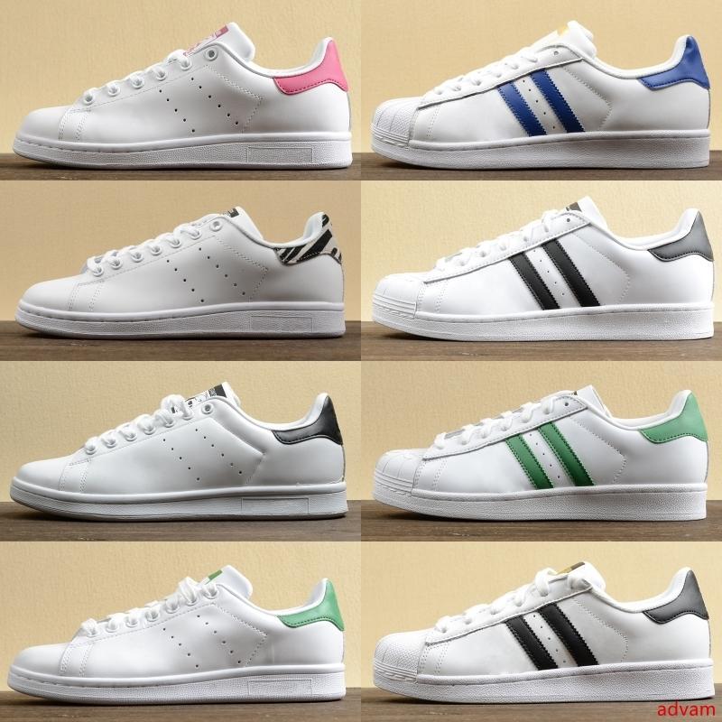 Sıcak Moda Stan Smith Çekirdek Siyah Sneakers Beyaz Yeşil Beyaz Mavi Kaykay Ayakkabı Yıldız Flats Womens Tasarımcı Ayakkabı 36-44
