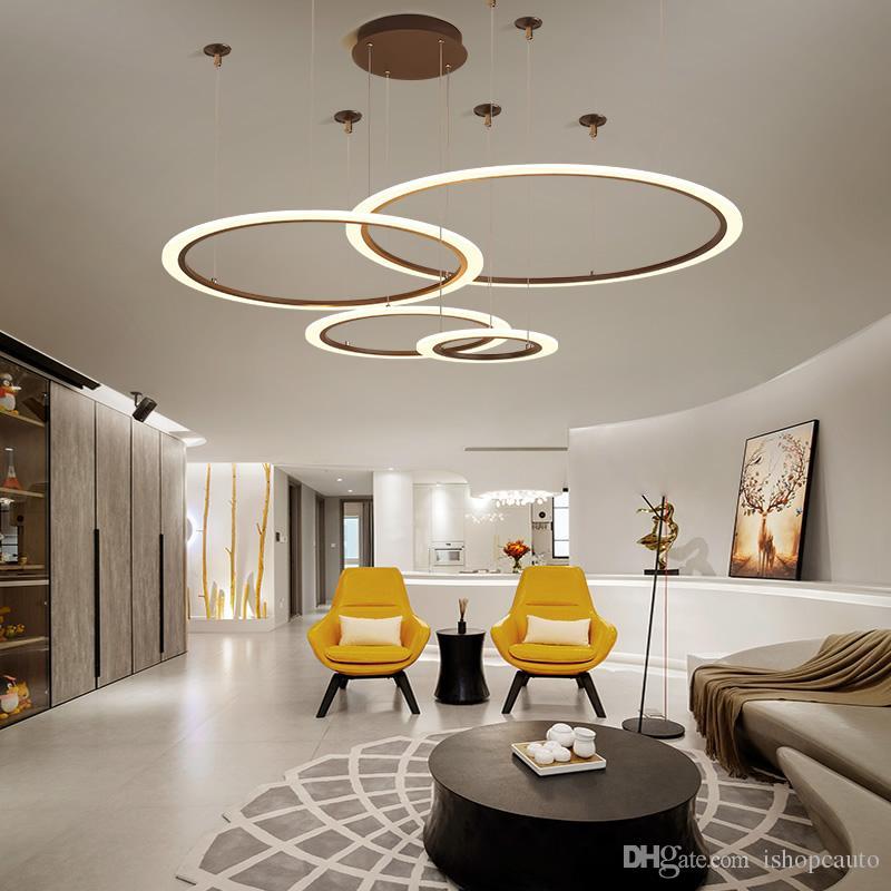 White/Coffee Color Simple Modern LED Pendant Lights Ring Acrylic Restaurant Kitchen Living Room Villa Hanging Pendant Lamp-Le82
