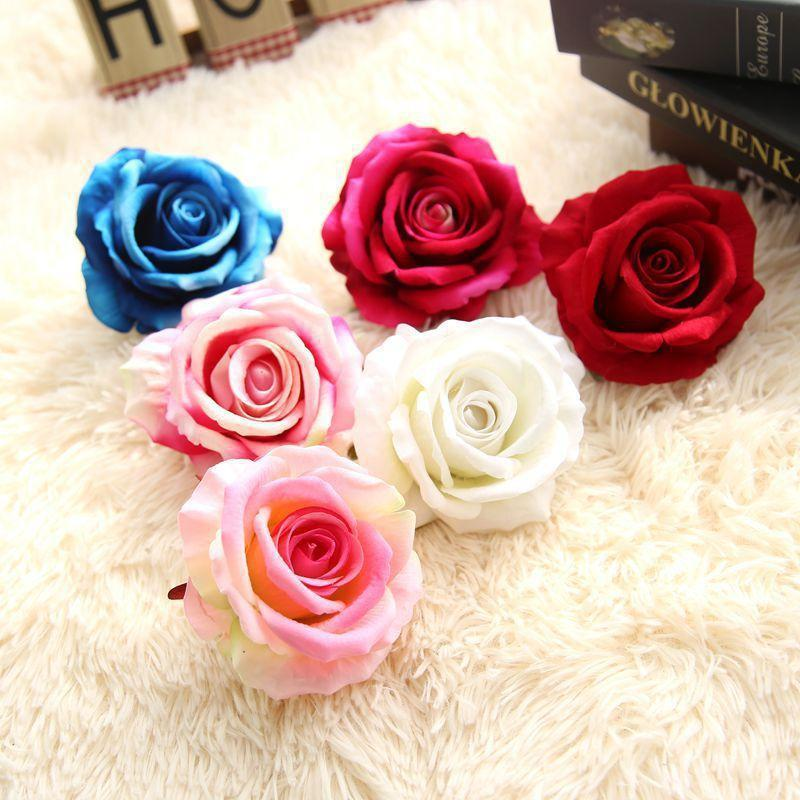 10PCS Jefes 10CM grande artificial de Rose del terciopelo de flores para la caja de regalo pared del banquete de boda de la decoración DIY Flor Wrap falso Flores
