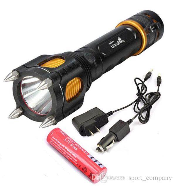 Zoom Tactical Flashlight XM-L T6 LED Torch Light Self Defense Tool with Hammer Audible Alarm +Car Charger+AC Charger+Battery