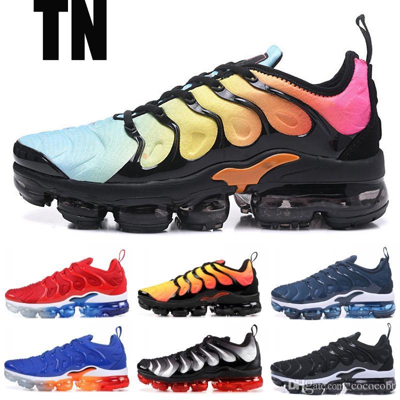 2019 TN Plus Chaussures De Course Hommes Femmes Top Qualité Triple Noir Tropical Coucher Du Soleil Laine Gris Designer Baskets Chaussures De Sport Chaussures De Sport
