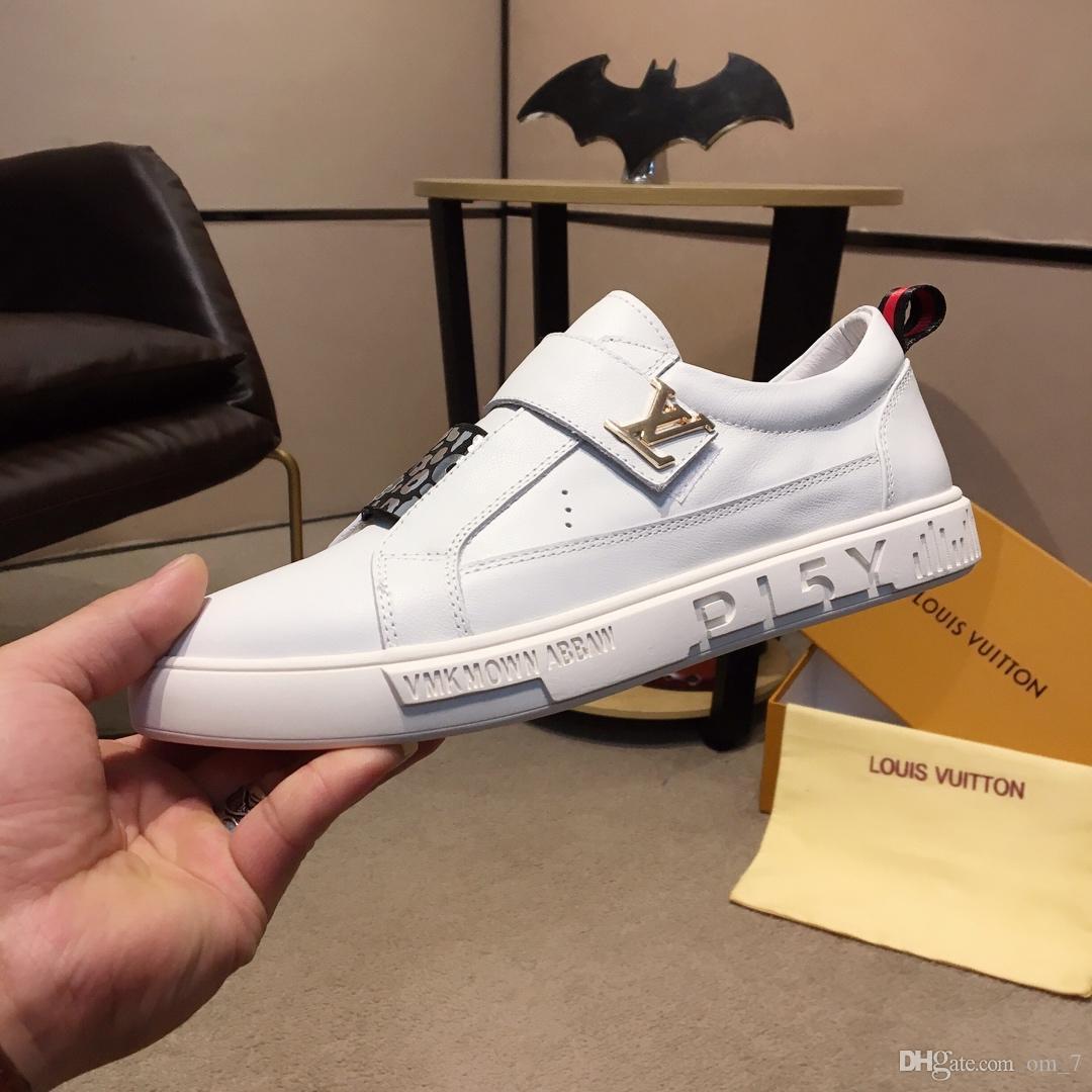 2020t Yeni Erkek Deri Harf Lace Up Düz Günlük Ayakkabılar, Yüksek Kalite Şık Yabani Açık spor ayakkabıları, Boyutu: 38-45