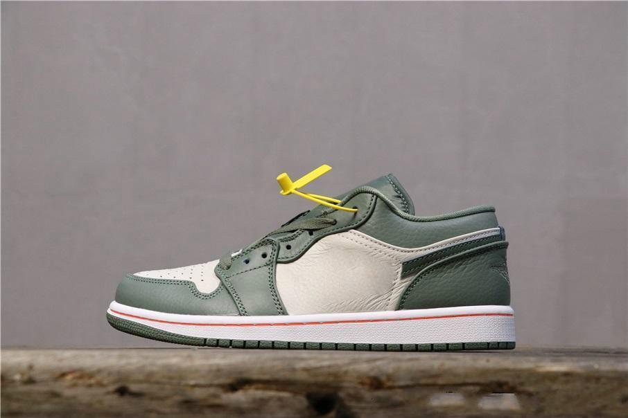 2020New 1s I niedrig Smaragd Aufstieg 553558-117 1 Sports Basketball Designer hohe Qualität der beiläufigen Frauen Schuhe Männer des chaussures zapatos36-45