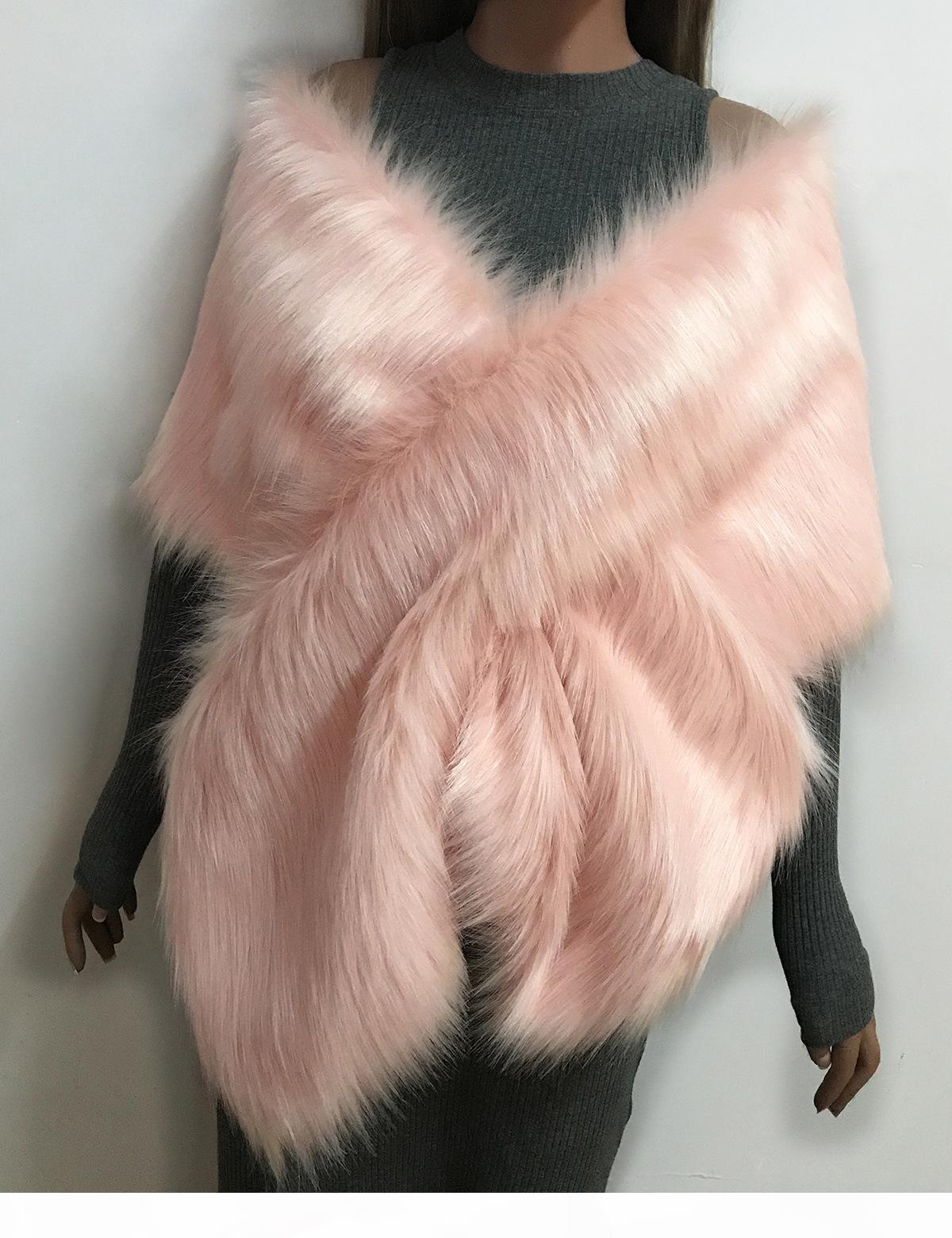 Мода меховой платок Свадебные Wrap Формальное Cheongsam платье Крупногабаритные шарф Soft Fox Lady Winter Поддельные Воротник Верхняя одежда невесты мыс D18102905