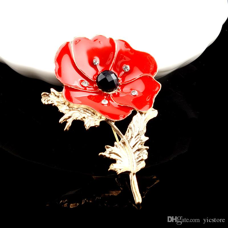 Fashion Poppy corsage red oil painting flower Rhinestone brooch pins collar for women gold statement jewelry Christmas gift -P
