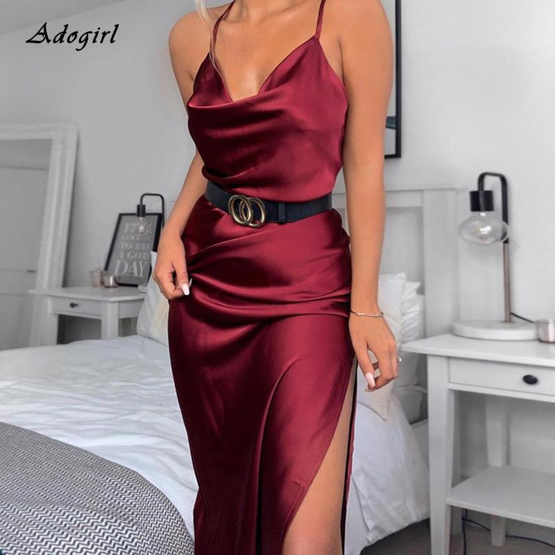 Femmes Sexy Spaghetti Strap Robe en satin élégante place col manches haut Slit rouge femmes robe noire Parti Clubwear Robe