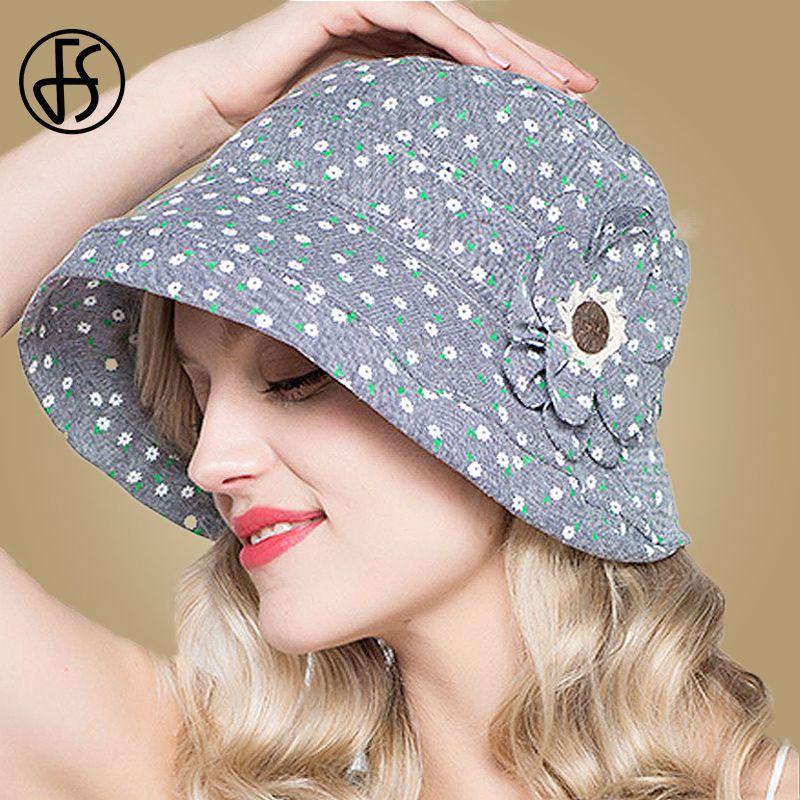 wholesale Fashion Summer Hats For Women Sun Hat Foldable Cotton Wide Brim Floppy Fisherman Cap Polka Dot Beach Caps Floral Bucket Hat