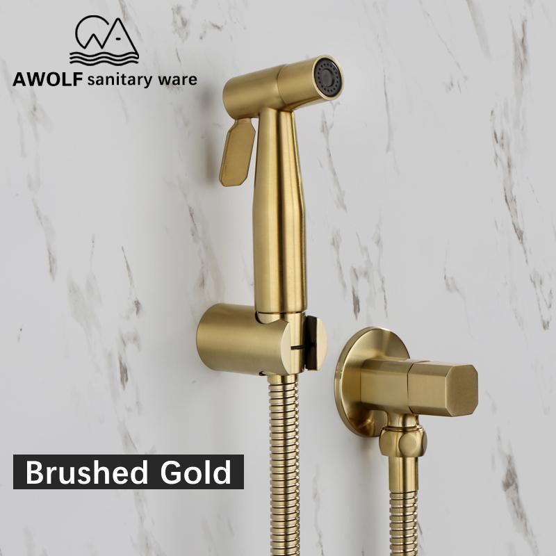 Mão WC Realizada Bidé Pulverizador Aço inoxidável escovado ouro Bidé Jet Douche Kit Shattaf Faucet WC Washer Limpeza AP2155