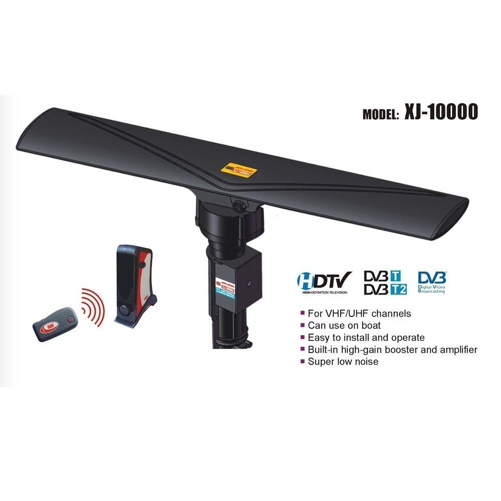 Открытый Усиленный ТВ антенны Цифровой HD TV 1080P UHF / VHF / FM 40-860MHz 20 ± 3dB 350 ° Вращение Черный