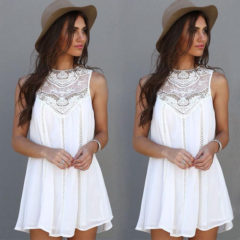Women Lace Sleeveless Long Tops Blouse Shirt Ladies Beach Short Mini Dress Plus Size Women Dress