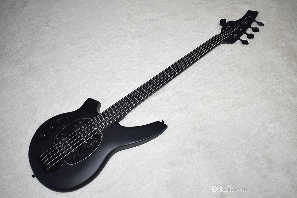 Fabrika Özel Mat Siyah Solak 5 Strings ile Elektrik Bas Gitar, Siyah Donanım, 24 Frets, Yüksek Kalite, Özelleştirilebilir