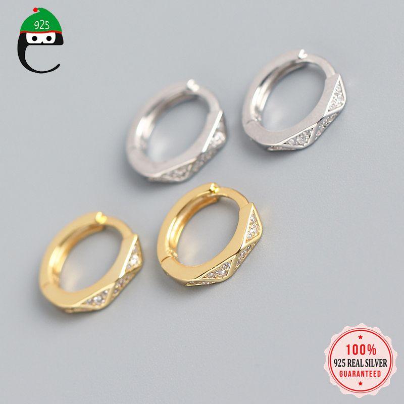 ElfoPlataSi argento 925 minimalista del partito delle donne geometrica zircone orecchini a cerchio Per S925 gioielli di moda DA973