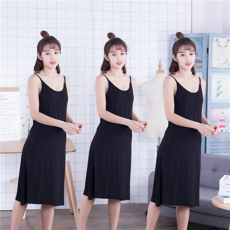 Wholesale-Gray Female Nightdress Sexy Long Summer New Spaghetti Dress Loose Casual Suspender Nightwear Softy Modal Home Dressing Gown