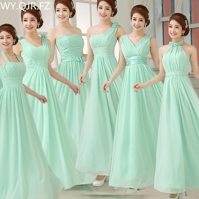 W150 # al por mayor hecho de gasa verde de encargo azul Vino tinto largo del cordón hasta la fiesta de la boda Vestidos de dama de honor vestido de baile vestido de las mujeres paño Y200109