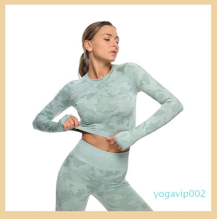 Women Seamless Yoga Sets Print Sportswear Gym 2 Piece Set Fitness Leggings Long Sleeve Shirts Tracksuit Tops Sport Suit Workout Pants