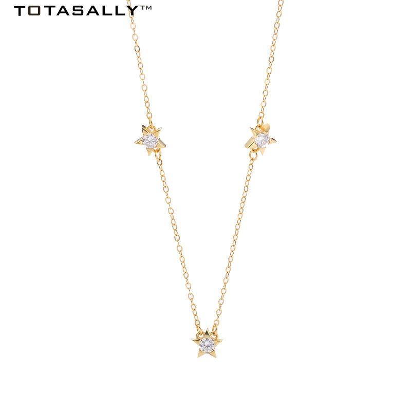 Оптовая новое прибытие мода простой элегантный дизайн S925 стерлингового серебра цепи Циркон звезды колье ожерелье для женщин