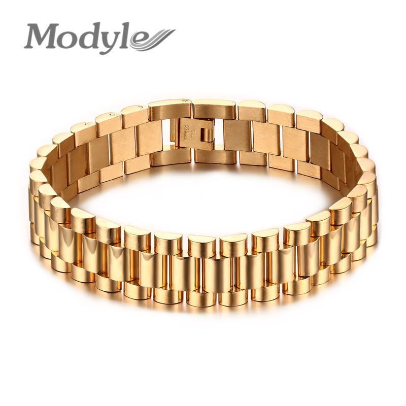 Modyle Hommes Bracelet Or-couleur 22 cm Chunky Chaîne Bracelets Bracelets En Acier Inoxydable Mâle Bijoux Cadeau C19041703