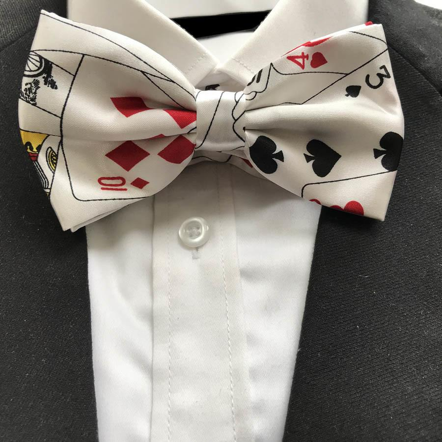 10 Pcs/lot Wholesale Adult Men Poker Bowties Male Play Cards Pattern Printed Bow Ties Butterfly For Party Tv Show C19022301