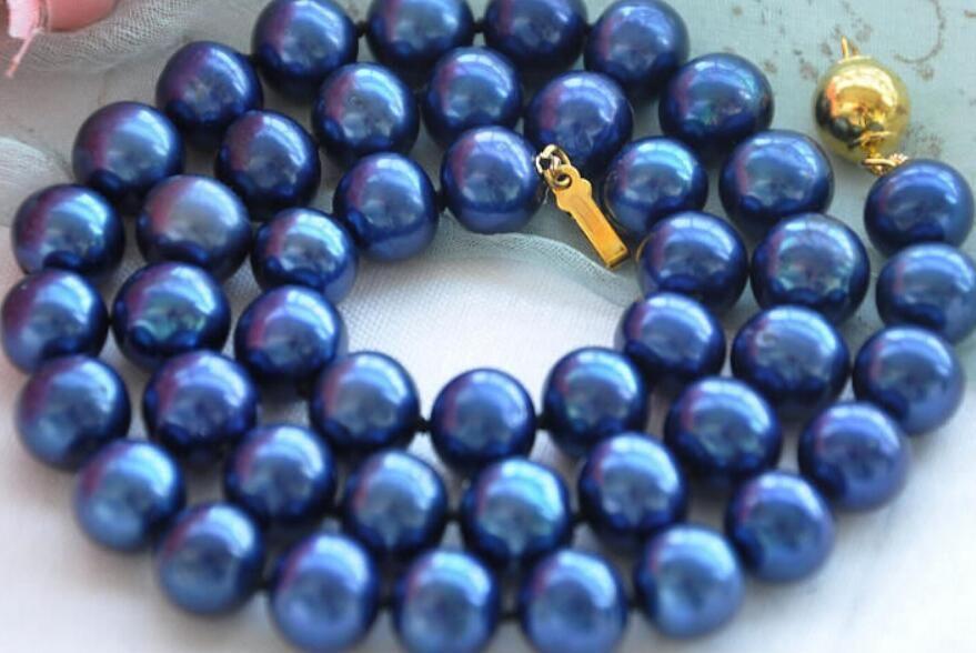 collar Envío libre ++++ BJC 00035 REDONDO azul de la joyería COLLAR DE LA PERLA DE AGUA DULCE Descuento