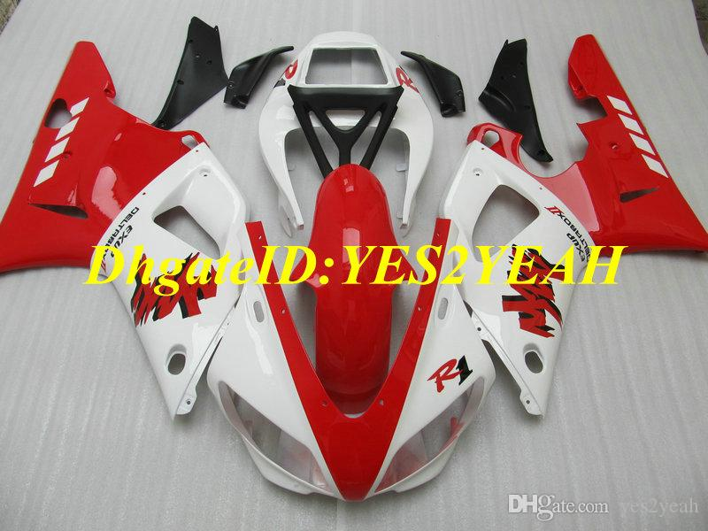 Top-rated Injection mold Fairing kit for YAMAHA YZFR1 98 99 YZF R1 1998 1999 YZF1000 ABS New white red Fairings set+Gifts YS22
