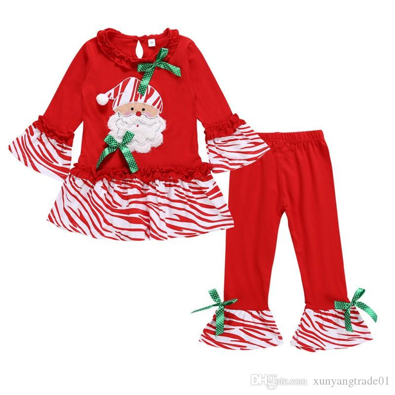 Christmas 2PCS Girls Set Kids Suit Baby Clothes Father Christmas Printed Flare Sleeve Tops Long Pants Chilrden Kids Clothing New Q409