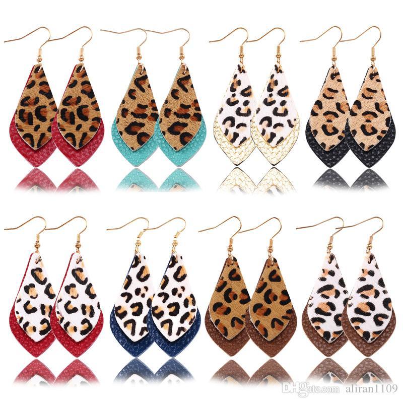 Commercio all'ingrosso nuovo arrivo Livelli di stampa leopardo orecchini di goccia Autunno Inverno doppia anta vera pelle ciondola gli orecchini per il regalo donne di fascino