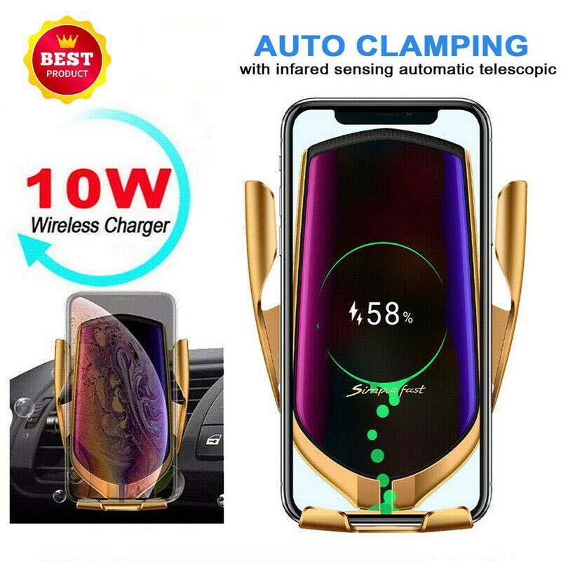 10W inalámbrico cargador del teléfono del coche cargador rápido R1 Monte elegante infrarroja del sensor de aire de ventilación automática Titular Eficiencia cargador inalámbrico