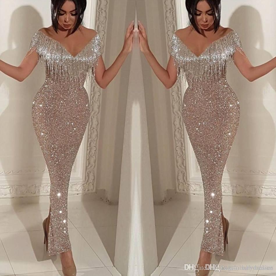 2019 Shiny Sequins Mermaid Prom Dresses Elegant Schulterfrei Quaste Abendkleider Trompete Knöchellangen Split Cocktail Party Kleider