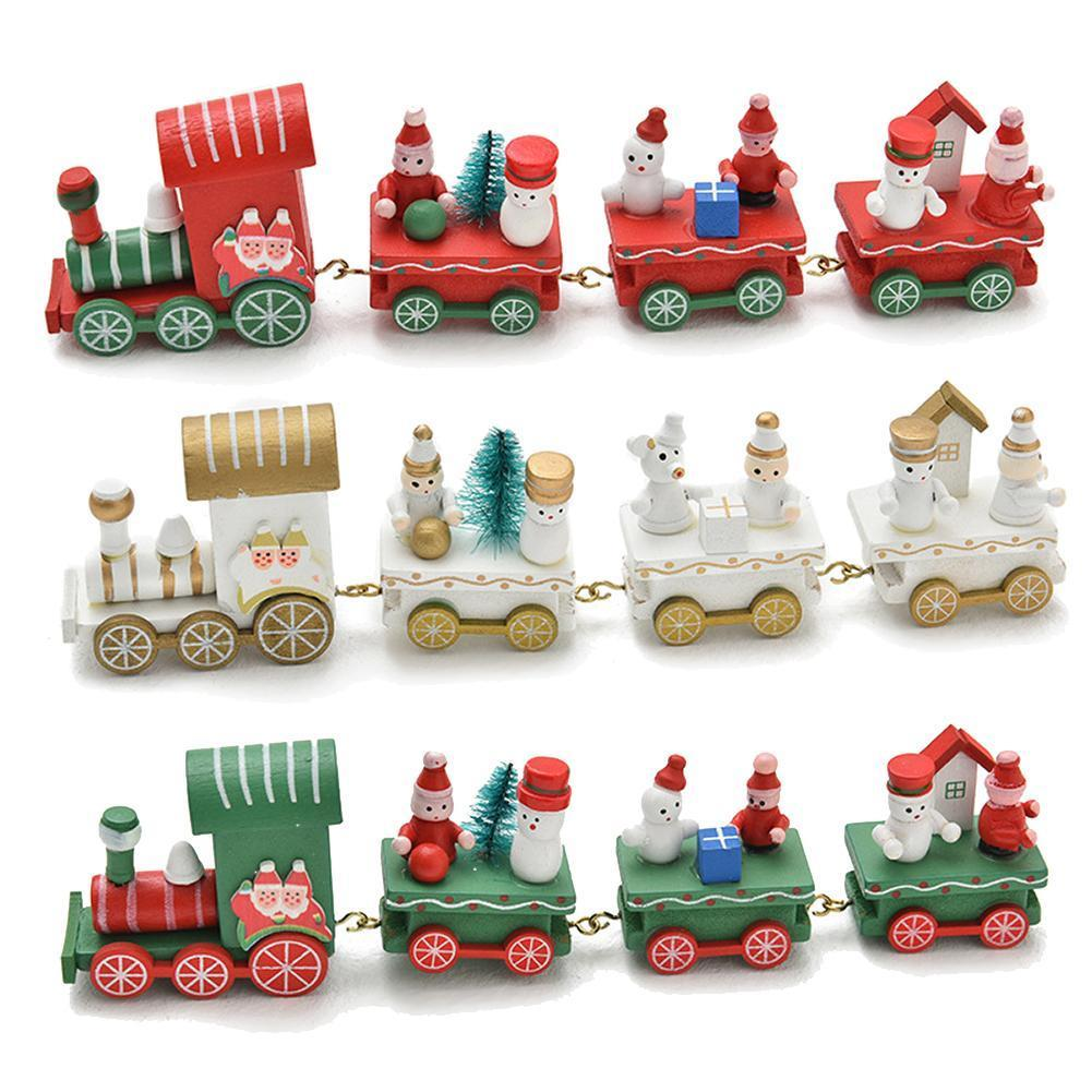 Wooden Christmas Decoration Train Decor Ornaments 4 Section Christmas Wooden Model Vehicle Toys For Home New Year