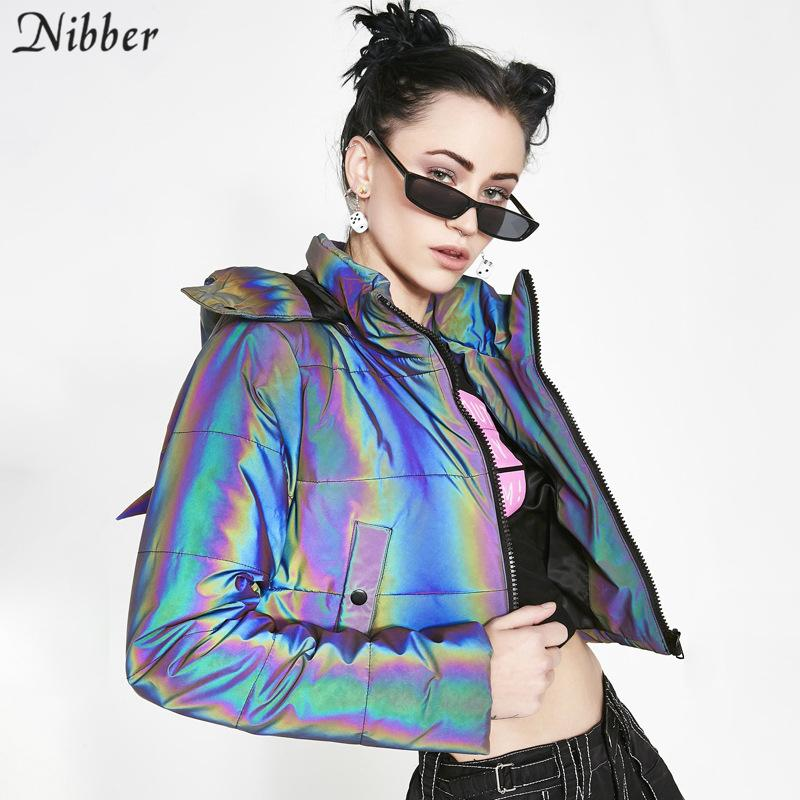 Renk eğlence Jacket neon Nibber Kış gökkuşağı Yansıtıcı Sıcak Ceket Kadınlar Coats2020 sonbahar kış Kapşonlu Kısa Ceket üst mujer