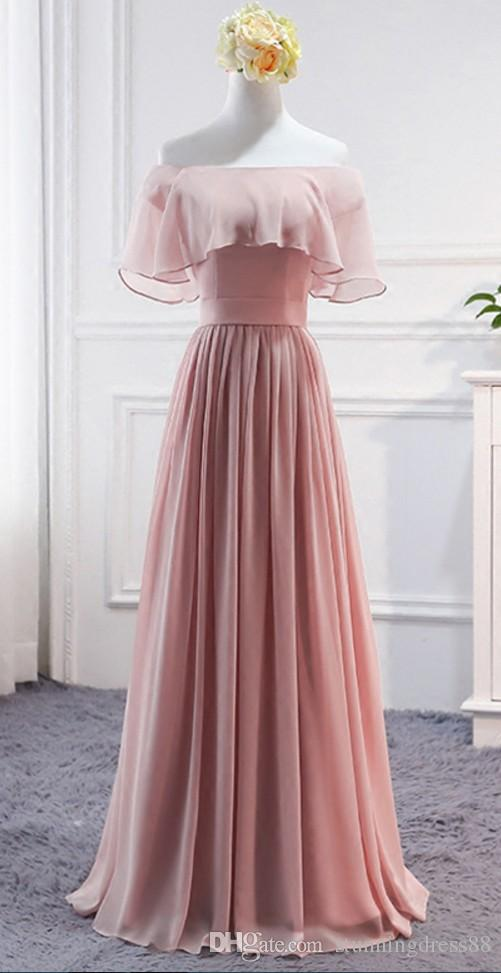 Dusty Pink Cheap Long Bridesmaid Dresses Real Photo Off the shoulder Boho Country Bridesmaids Party Prom Dress Gowns For Junior Women