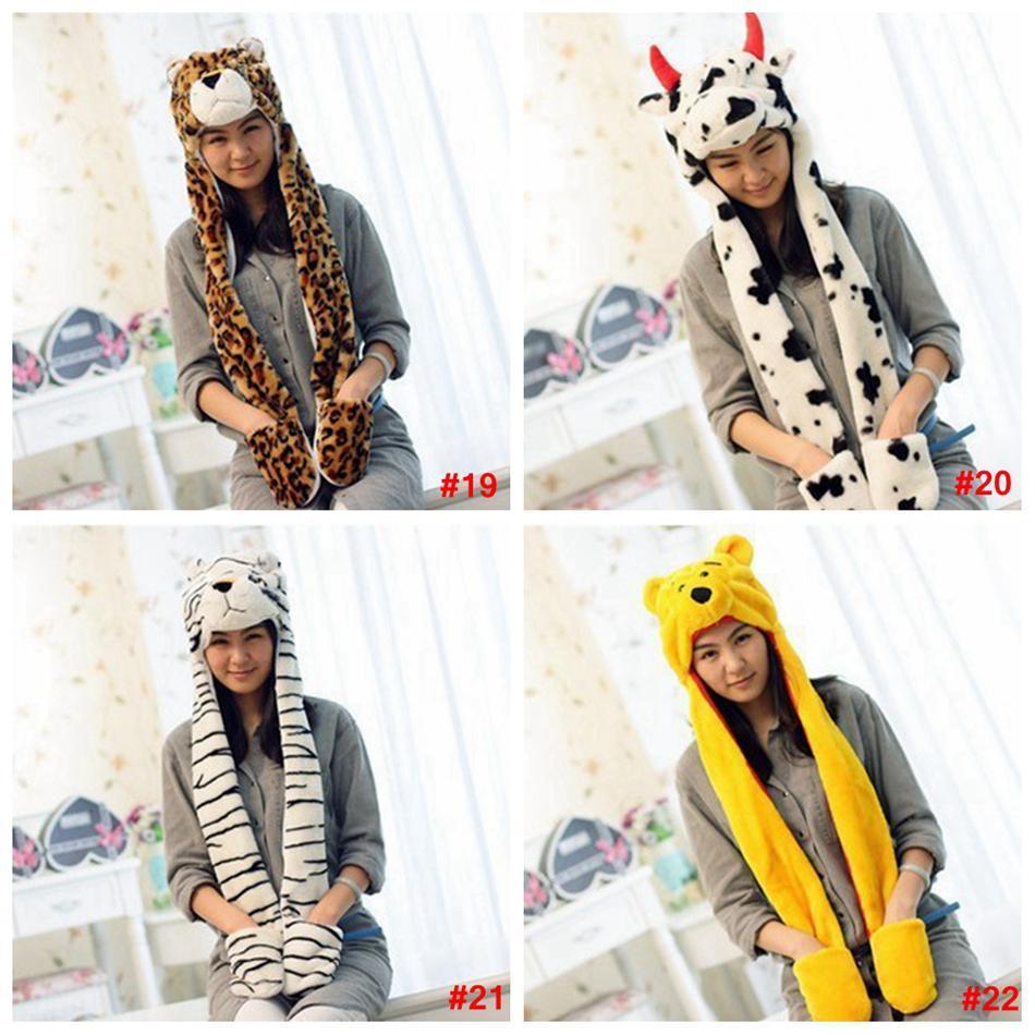 cartoon chapéu cachecol de pelúcia animais Lenços Costume Hat Mulheres chapéus bonitos com cachecol luvas Earmuffs orelha quente gorros 3 em 1 LJJA3528