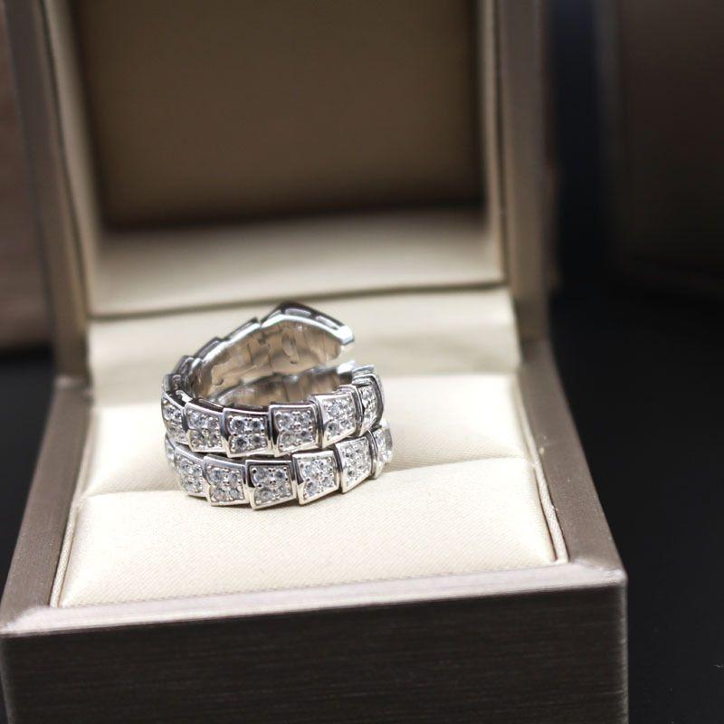 Full Diamond Snake Rings Pour Femmes Nouvelle Mode Bijoux De Mariage Marque Bijoux Femelle 925 Sterling Anneaux En Argent