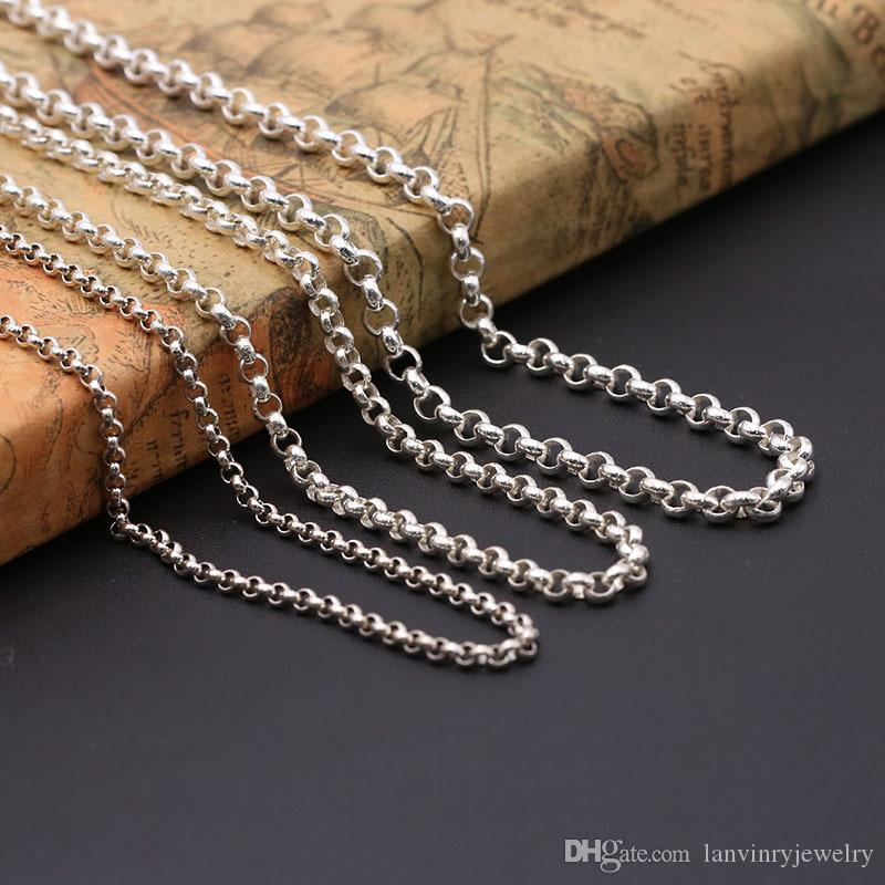 """3 X 30/"""" de largo 80cm 925 Plata Plateado 2mm bordillo Cadenas Colgante Collar Reloj////"""