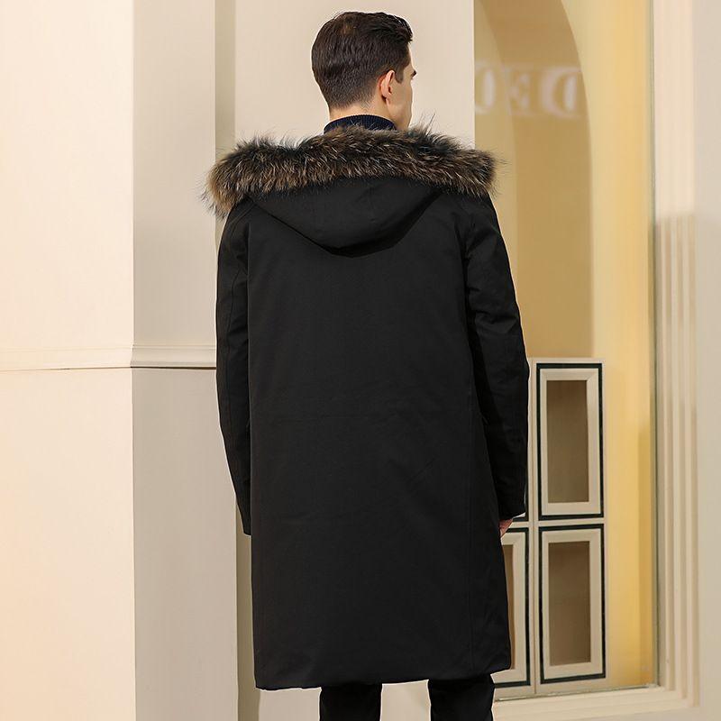 Выше колена пуховик мужской 2019 Зимняя молодежь мужская мода повседневная капюшоном Лисий мех воротник длинный пуховик
