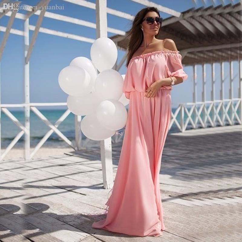Оптово-Maxi платье Твердая шифона с плеча сексуальные платья богемское Бич Vestidos платье Elegant Женская одежда