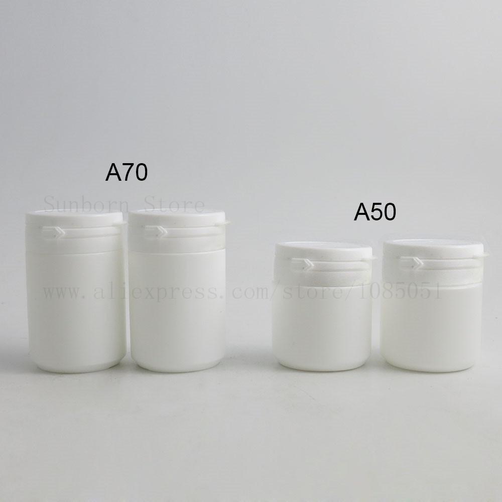 500pcs plastik Hap Şişeler Cap Tıp Konteyner Beyaz Vitamini Kapsül Kılıf Tutucu 50 / 70ml