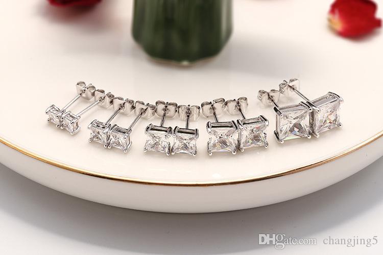 Clásico de cuatro garras Plaza Pendientes circón oro transparente joyas de diamantes Pendientes de Moda