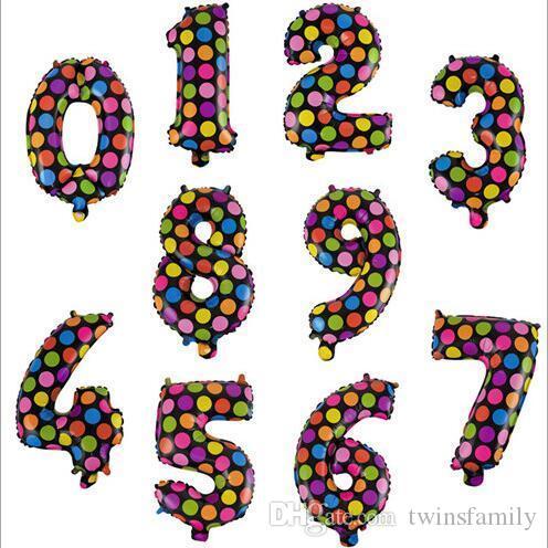 Palloncini rotonda Dots di alluminio del rivestimento Numero palloncini colorati Regali di nozze bambini i giocattoli di Natale Buon Compleanno Decorazione 16inch DYP1068