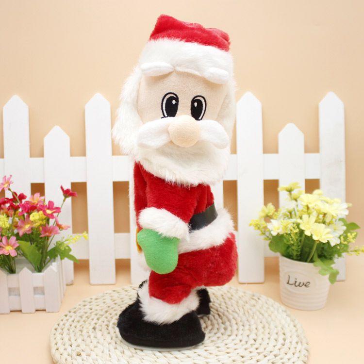 نمط جديد الرقص عيد الميلاد سانتا كلوز الكهربائية اللعب دينامية اللعب الورك هزة الموسيقى دمية عيد الميلاد هدية الديكور
