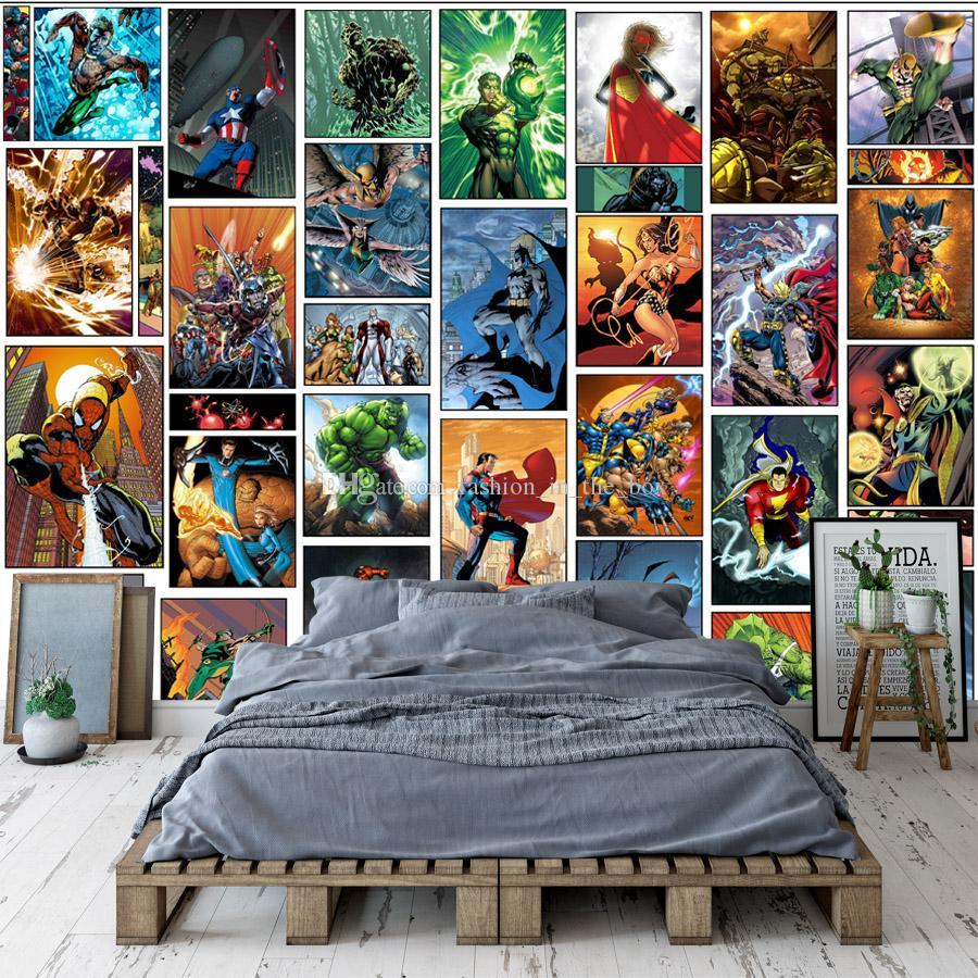 Classic Marvel Comics Wallpaper Spiderman Iron Man Batman Mural