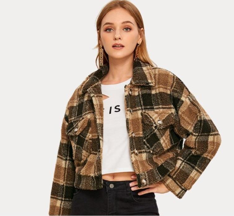 Yeni Avrupa uzmanlaşmış Sınır ötesi ve Amerikan kadın giyim 2019 tek göğsü kısa ince ekose kaşmir palto