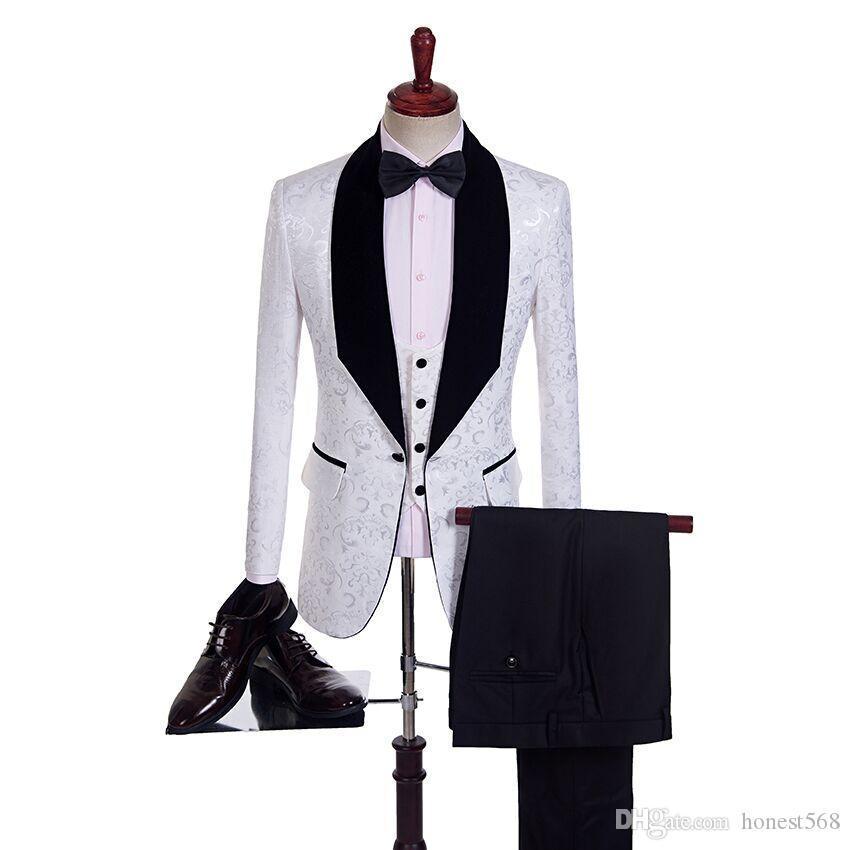 Handsome Jacquard Groomsmen Shawl Lapel Groom Tuxedos Men Suits Wedding/Prom/Dinner Best Man Blazer(Jacket+Pants+Tie+Vest) A18