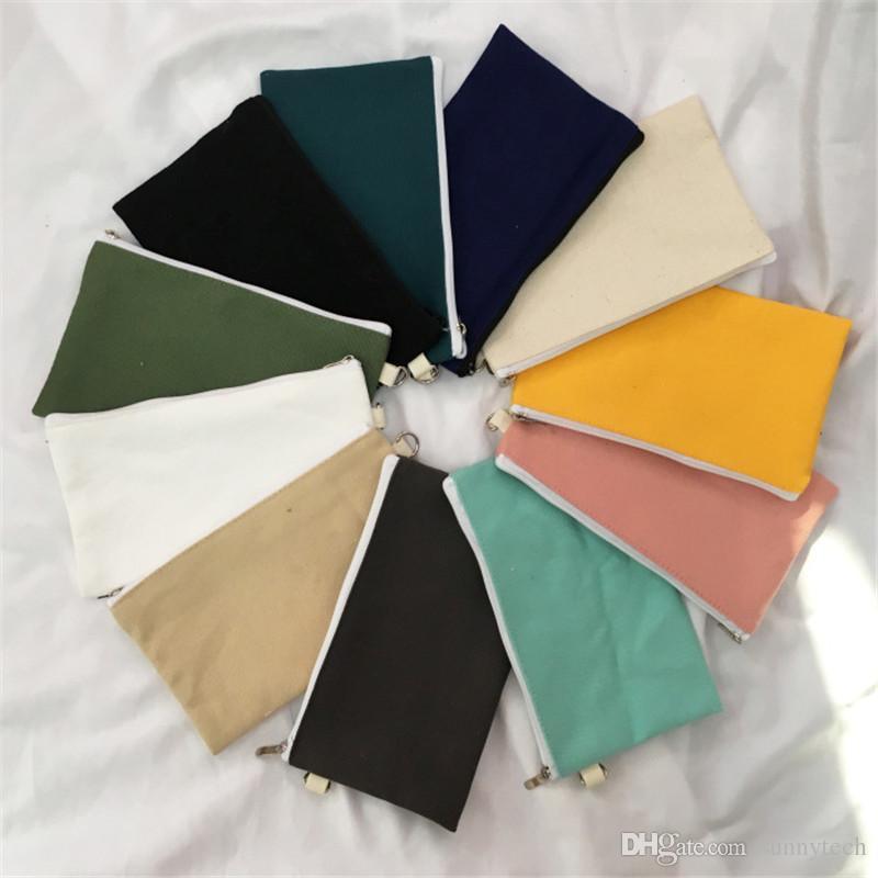 Coloful en blanco lona de la cremallera estuches de lápices bolsas de algodón pluma bolsas de cosméticos bolsas de maquillaje para teléfonos móviles LX1308 bolsa de embrague organizador
